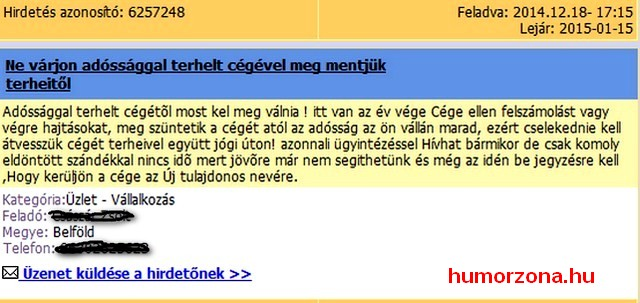 humorzona.hu-hírdetés